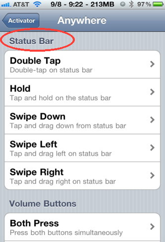 Use Activator to control your iPhone by touching the status bar