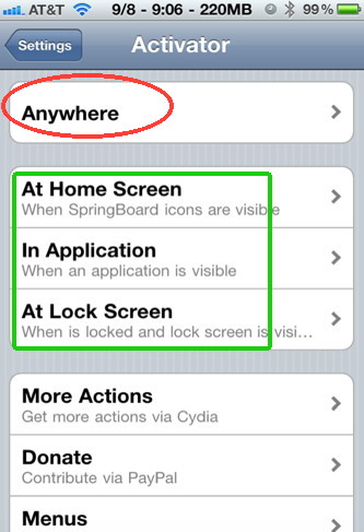 Activator for iPhone allows you to control your iPhone apps and actions with gestures