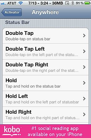 Activator is one my best  hacks for the iPhone