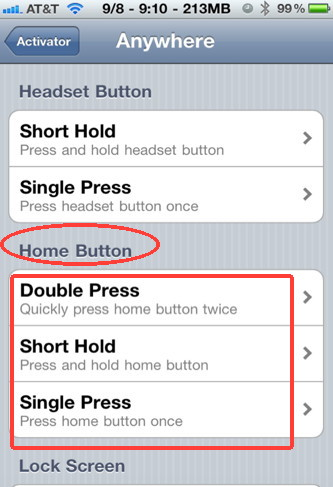 Define new actions to the home button with iPhone Activator