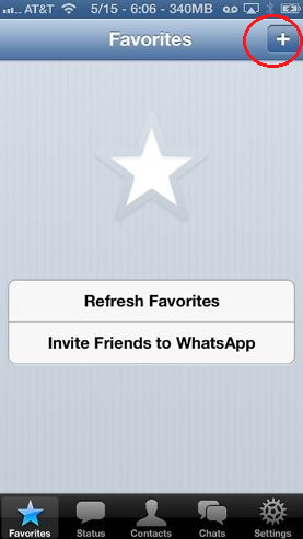Add favorites for Whatsapp for iPhone