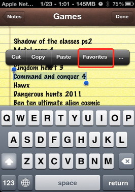 Add items to the favorites in Action menu iPhone context menu