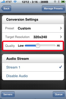 air video conversion settings iPhone video