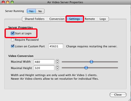 aire video mac settings watch iPhone video