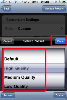 air video quality options to play iPhone video