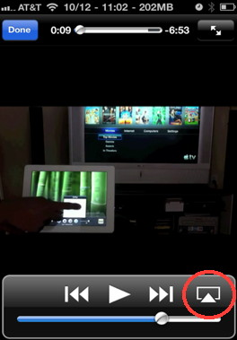 Access airplay button from any video using your iPhone