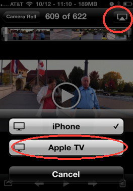 get the airplay button with iPhone photo