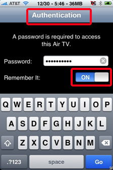 airtv authentication screen for iphone