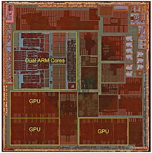 Apple A6 processor is a dual ARM core and 3 core GPU