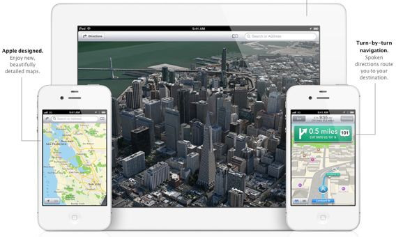Apple dumps google maps and implements a new mapping application for iOS 6