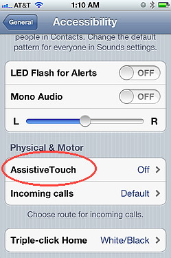 Assistive touch is an iOS 5 feature
