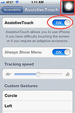 iOS 5 assistive touch