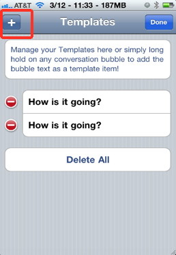biteSMS template creation for quick iPhone text messages