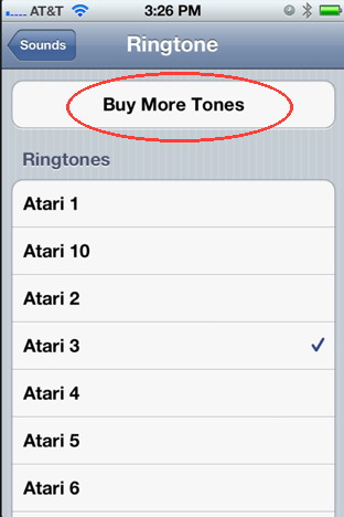 Buy ringtones for iPhone through settings