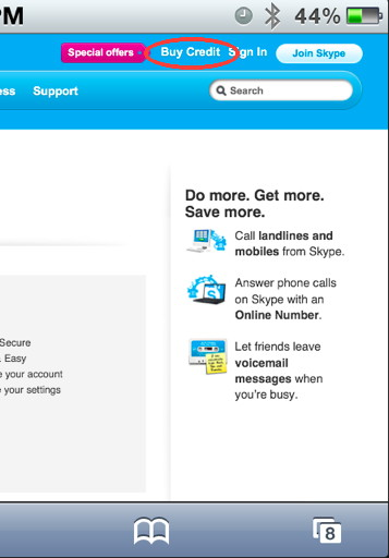 skype web page to add skype out credit