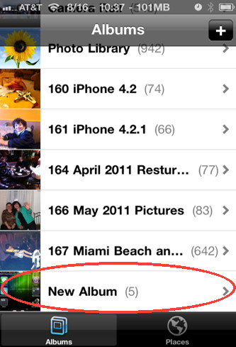 The new iphone photo album is created and added to the photo albums