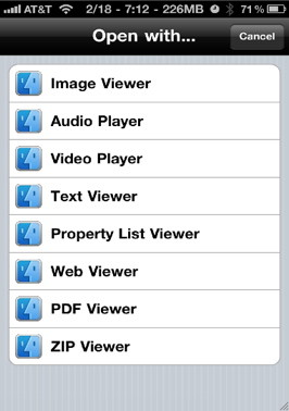 The default file openers and viewers that come with iFile for the iPhone