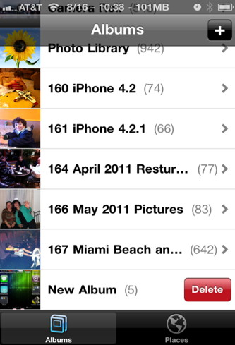 iphone how to delete albums