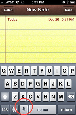 Dictation with iOS 5 on iPhone 4S