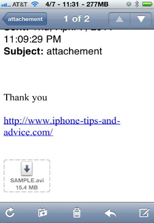 Attachement Saver is an iPhone hack that allows you to download email attachments to your iPhone