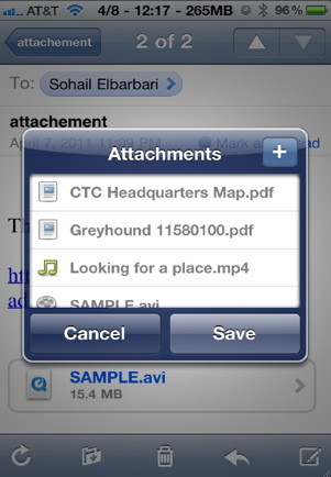 Download email attachements to anywhere in the file system with AttachmentSaver and iFile