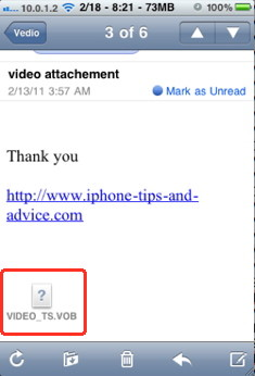 You can't download iPhone attachments by default
