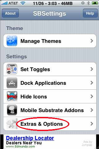 extras and options in sbsettings