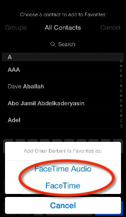 Adding facetime favorite in iOS 7