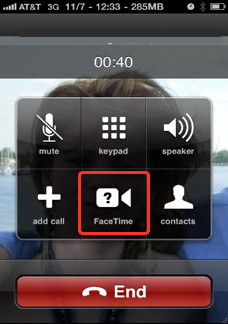 Facetime for iPhone, the call screen