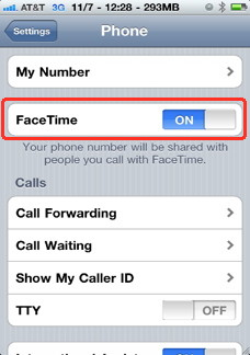 Enable facetime from settings in iPhone 4