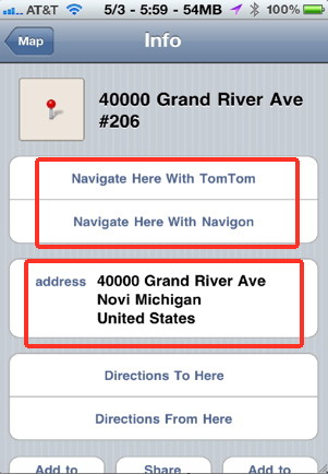 Send any address from your email to the Maps application and then to your favorites GPS iPhone application