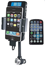 Holds, and charge your iPhone with this fm transmitter for iPhone, you can even remote control