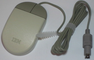 IBM two button mouse compared to one button mouse apple design