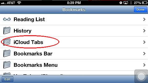 iCloud Tabs is an iOS 6 feature added to Safari