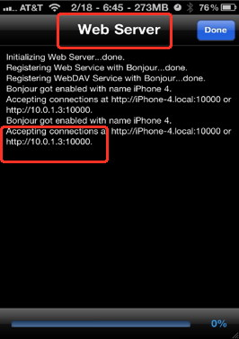 iFile web server for iPhone