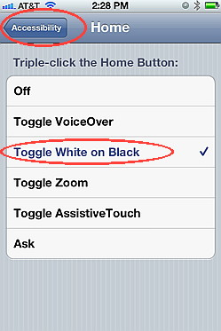 iOS 5 accessibility, triple click home