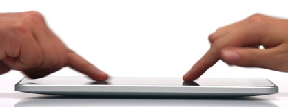 Many people can touch the iPad screen in different orientation