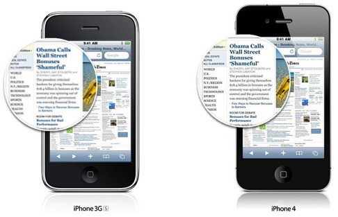 iPhone 4 Retina display vs iPhone 3g and iPhone 3GS display