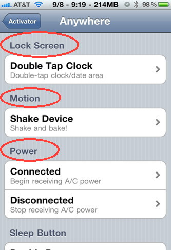 Activator for iPhone settings