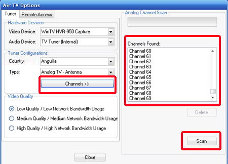 air tv options channels on PC
