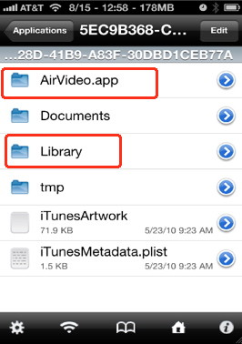 iPhone backup of applications settings and preferences