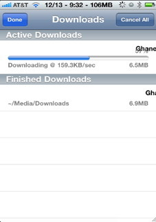 iPhone download manager for Safari mobile