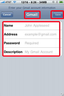 Tap the Gmail button, and enter your name, address, password, and ...