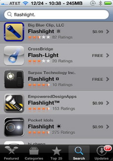 iPhone flash light in the App Store
