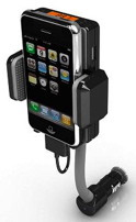 Hold, charge and transmitte audio from iPhone to car stereo with this iPhone fm transmitter