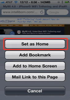 "Set any page as a home page in iPhone safari with ""Home page in Safari"" hack"