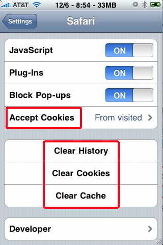 how to change cookie settings on iphone