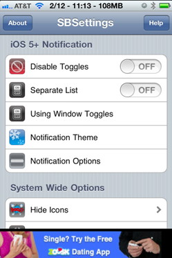 Enable Sbsettings in notification center