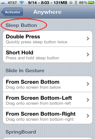 Control your iPhone with the sleep button using Activator iPhone hack