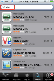 There are many iPhone VNC clients in the App Store